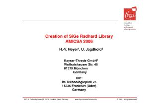 Creation of SiGe Radhard Library AMICSA 2006