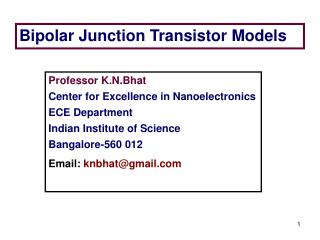 Bipolar Junction Transistor Models