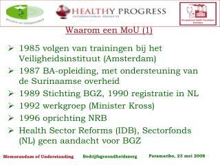 Waarom een MoU (1) 1985 volgen van trainingen bij het Veiligheidsinstituut (Amsterdam)