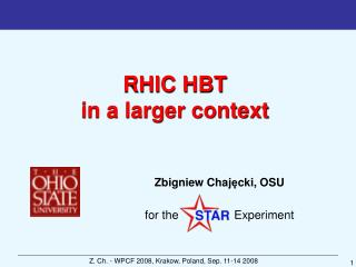 RHIC HBT  in a larger context