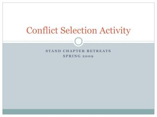 Conflict Selection Activity