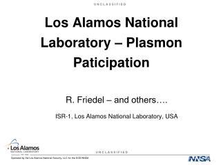 Los Alamos National Laboratory – Plasmon Paticipation