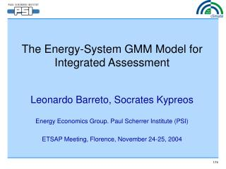 The Energy-System GMM Model for Integrated Assessment
