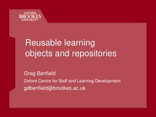 Reusable learning objects and repositories
