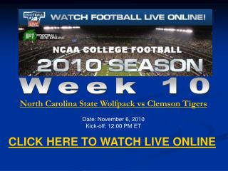 Watch Clemson vs North Carolina State Live Streaming NCAA Fo