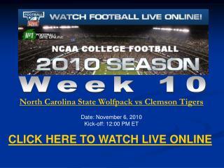 Watch Clemson vs North Carolina State Live Streaming NCAA Fo