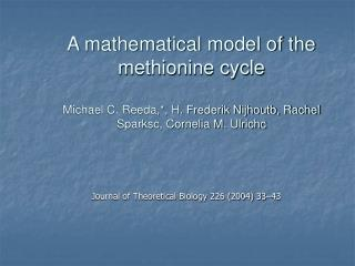 Journal of Theoretical Biology 226 (2004) 33�43