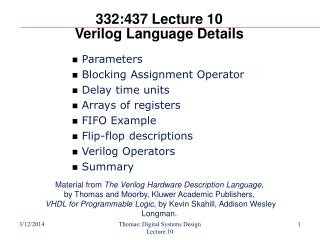 332:437 Lecture 10 Verilog Language Details