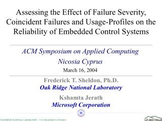 ACM Symposium on Applied Computing Nicosia Cyprus March 16, 2004