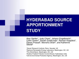 HYDERABAD SOURCE APPORTIONMENT STUDY