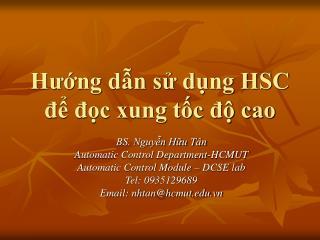 Hướng dẫn sử dụng HSC để đọc xung tốc độ cao