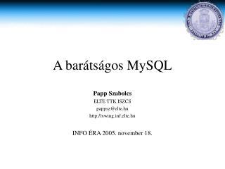 A bar átságos MySQL