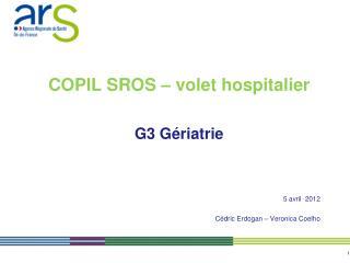 COPIL SROS � volet hospitalier G3 G�riatrie  5 avril  2012 C�dric Erdogan � Veronica Coelho