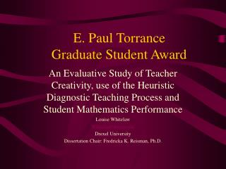 E. Paul Torrance  Graduate Student Award