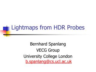 Lightmaps from HDR Probes