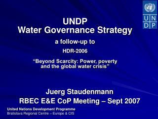 Juerg Staudenmann  RBEC E&E CoP Meeting – Sept 2007