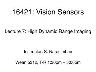 16421: Vision Sensors