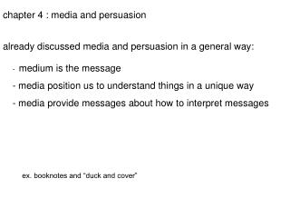 chapter 4 : media and persuasion