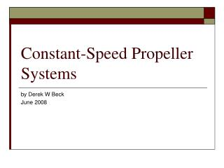 Constant-Speed Propeller Systems