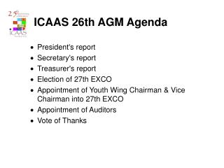 ICAAS 26th AGM Agenda