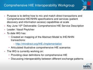 Comprehensive HIE Interoperability Workgroup