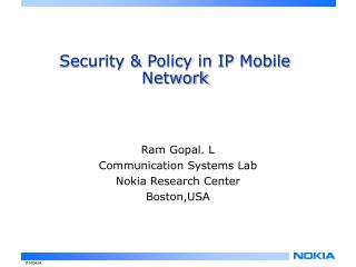 Security & Policy in IP Mobile Network