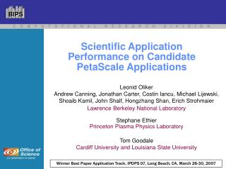 Scientific Application  Performance on Candidate PetaScale Applications