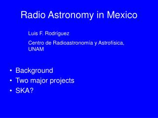 Radio Astronomy in Mexico