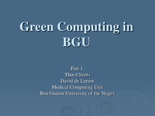 Green Computing in BGU