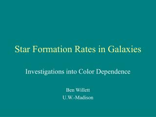 Star Formation Rates in Galaxies
