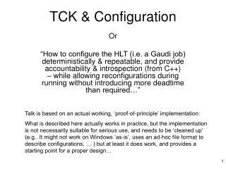 TCK & Configuration