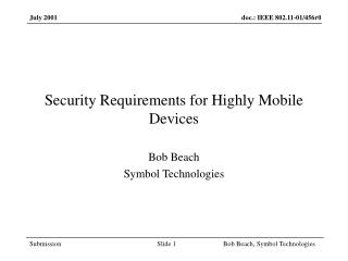 Security Requirements for Highly Mobile Devices