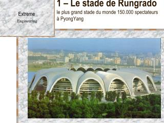 1 – Le stade de Rungrado le plus grand stade du monde 150.000 spectateurs à PyongYang