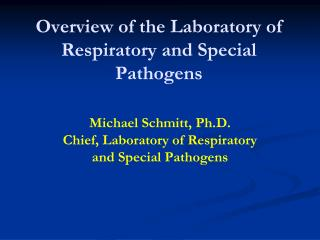 Overview of the Laboratory of Respiratory and Special  Pathogens