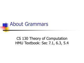 About Grammars