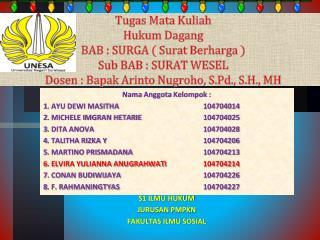 Nama Anggota Kelompok  : 1. AYU DEWI MASITHA104704014 2. MICHELE IMGRAN HETARIE104704025