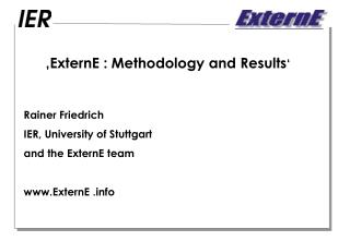�ExternE : Methodology and Results �