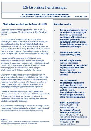 Elektroniske henvisninger innføres nå i HMN