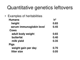 Quantitative genetics leftovers