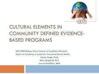 Cultural Elements in  Community Defined Evidence-Based Programs