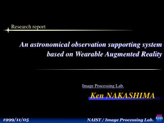 An astronomical observation supporting system          based on Wearable Augmented Reality