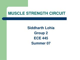 MUSCLE STRENGTH CIRCUIT
