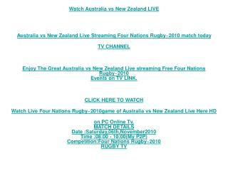 Enjoy The Great Australia vs New Zealand Live streaming Fre