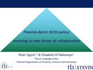Flemish-Dutch HLTD policy: evolving to new forms of collaboration