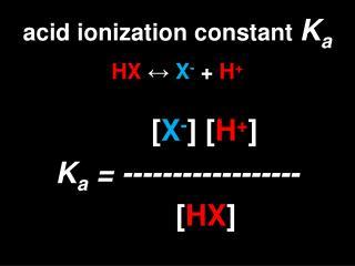 acid ionization constant  K a