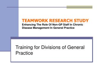 Training for Divisions of General Practice