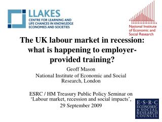The UK labour market in recession: what is happening to employer-provided training?