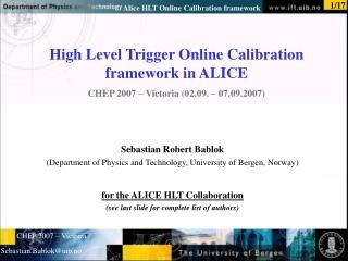 Sebastian Robert Bablok (Department of Physics and Technology, University of Bergen, Norway)
