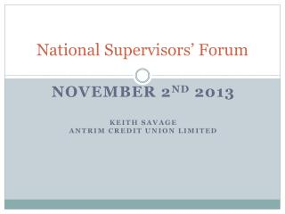 National Supervisors' Forum