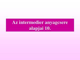 Az intermedier anyagcsere alapjai  10 .